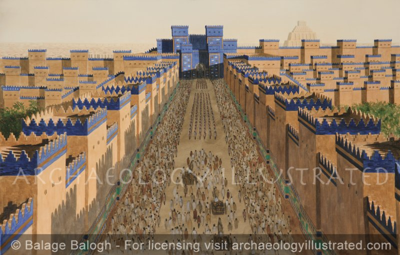 Babylon, Ishtar Gate and Processional Avenue, Aerial, 6th century BC - Archaeology Illustrated
