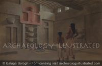 Catal Huyuk, Neolithic Village in South Central Turkey. Interior of Cult Room, 6500 BC - Archaeology Illustrated