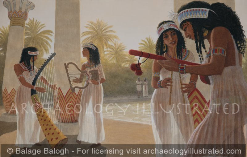 Egyptian Musicians by the Pool. Based on Egyptian Tomb Paintings - Archaeology Illustrated