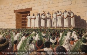 Ezra and Nehemiah Reading the Scroll of the Law to the Israelites Assembled in the Temple Court in Jerusalem, 455 BC - Archaeology Illustrated