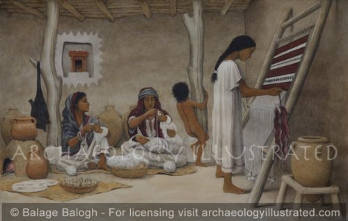 """Israelite """"Four Room House"""", Courtyard Scene, Biblical Period - Archaeology Illustrated"""