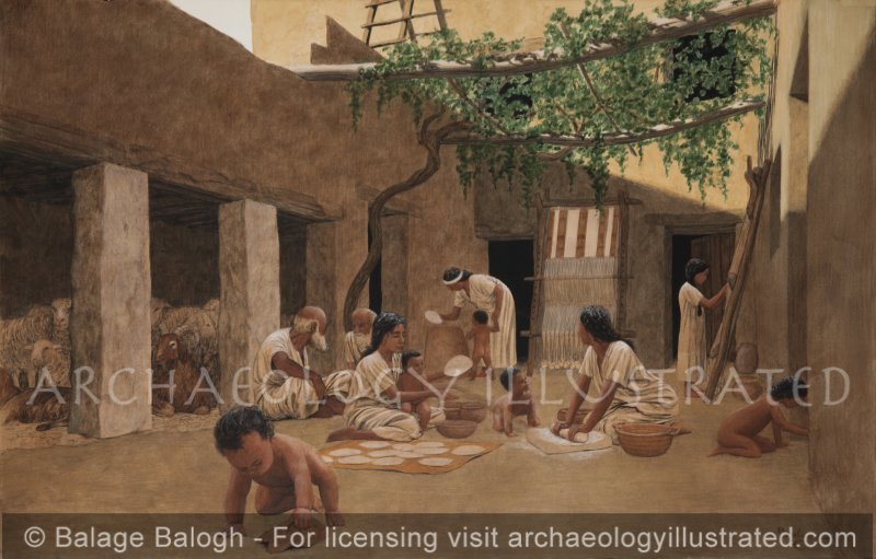 """Israelite """"Four Room House"""" Courtyard in the Biblical Period. Multi Generational Scene - Archaeology Illustrated"""