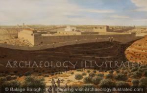 Jerusalem, The Temple Mount in the 1st century Viewed from the Mount of Olives - Archaeology Illustrated