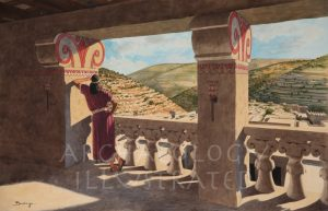 King David on his Palace Balcony Over the City of David 10th century BC - Archaeology Illustrated