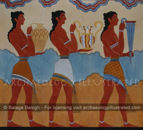 Knossos, Island Of Crete, Restored Mural in Royal Palace: Men's Procession - Archaeology Illustrated