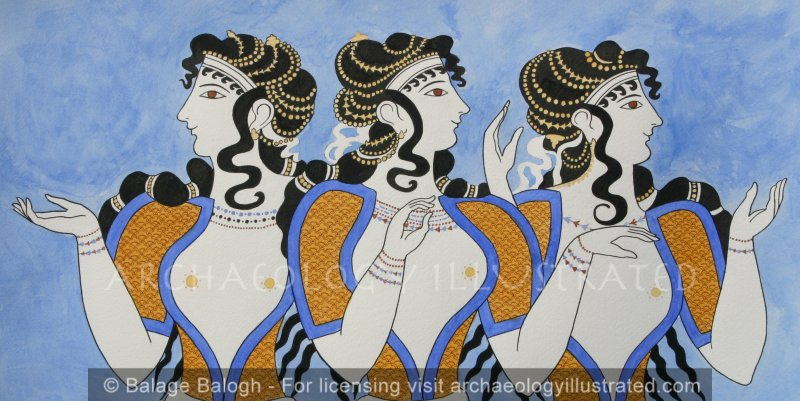 Knossos, Island of Crete, Restored Mural in Royal Palace: Court Ladies - Archaeology Illustrated