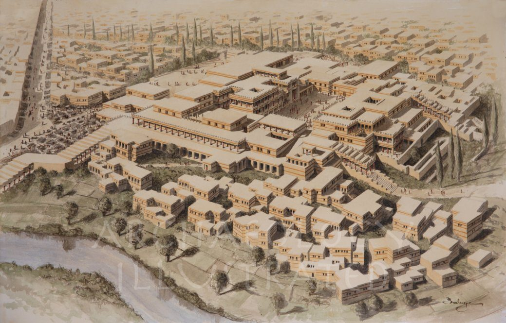 Knossos, Island of Crete, Royal Palace, Around 1450 BC - Archaeology Illustrated