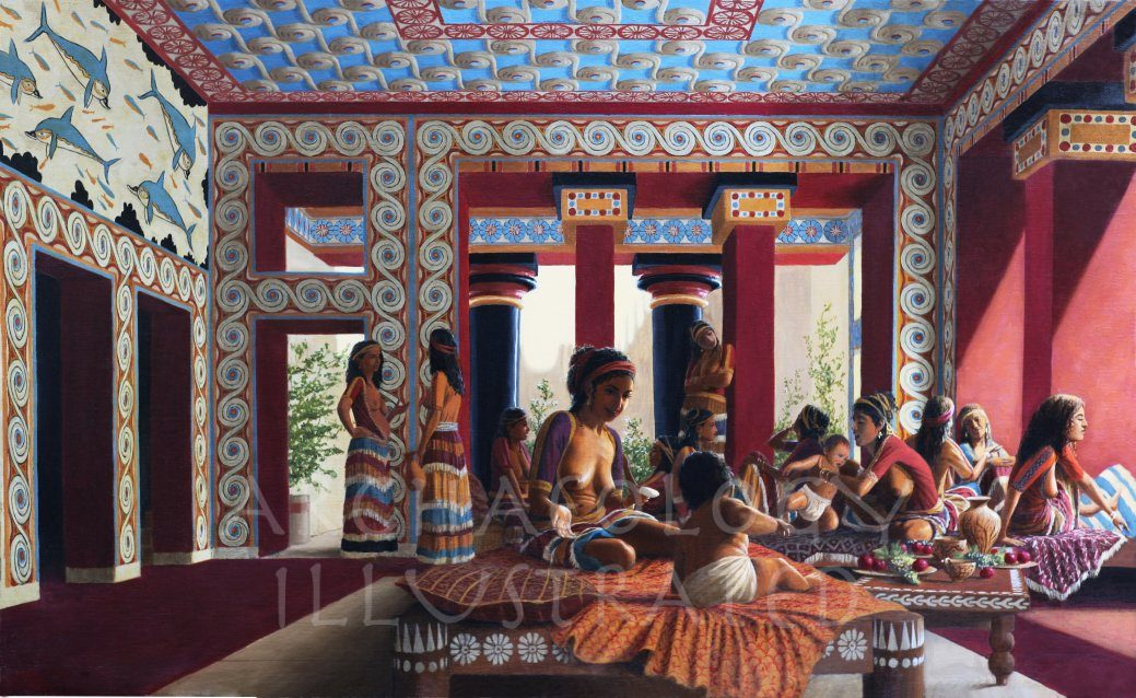 Knossos, Island of Crete, Royal Palace, Queen's Room, 1450 BC - Archaeology Illustrated