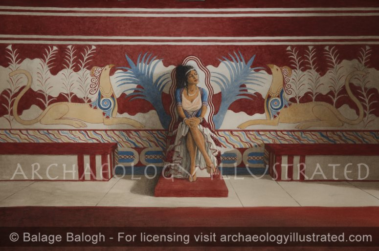 Knossos, Island of Crete, Throne Room, Queen of the Minoans - Archaeology Illustrated