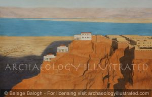 Masada and the Dead Sea, Israel, Side View, 1st century BC - Archaeology Illustrated