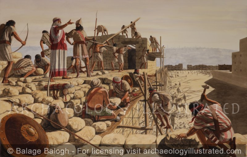 Nehemiah Directing the Rebuilding of Jerusalem's Walls after Returning from the Babylonian Exile, 440 BC - Archaeology Illustrated