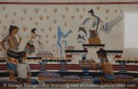 Reconstruction of a Minoan Wallpainting Found at Akrotiri, on the Greek Island Santorini, 1450 BC - Archaeology Illustrated