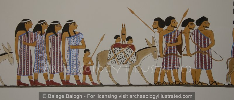Restored Depiction of Nomadic People in Khnumhotep's tomb, Egypt, Close-up, 19th century BC - Archaeology Illustrated