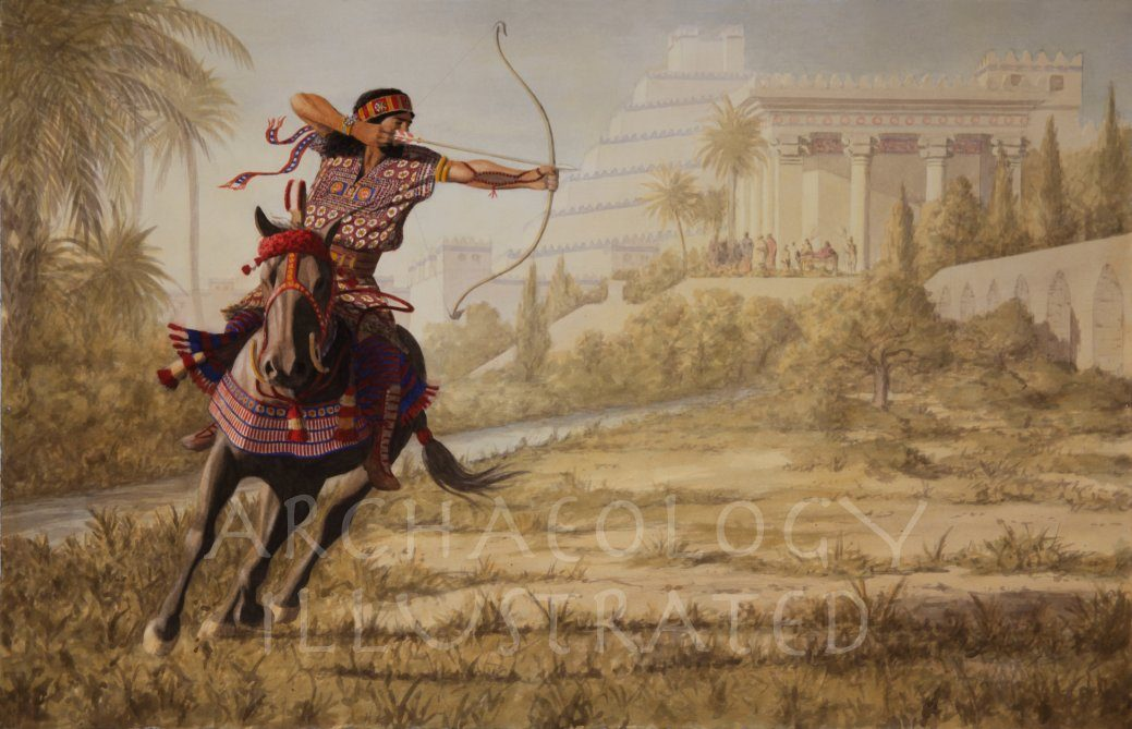 Sennacherib, King of Assyria Taking Exercise in Nineveh Gardens. 8th century BC - Archaeology Illustrated