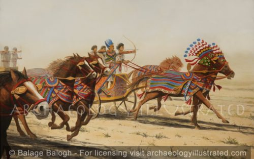 The Chariot Team of Ramesses II Charging into Battle, 13th Century BC, Based on Tomb Paintings - Archaeology Illustrated