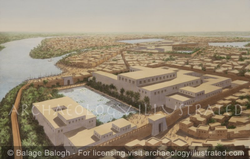 The Governor's Palace at Avaris (Tell el-Dab'a), Nile Delta, Egypt, During Thutmose III and Amenhotep II, 15th century BC, Facing Southeast - Archaeology Illustrated