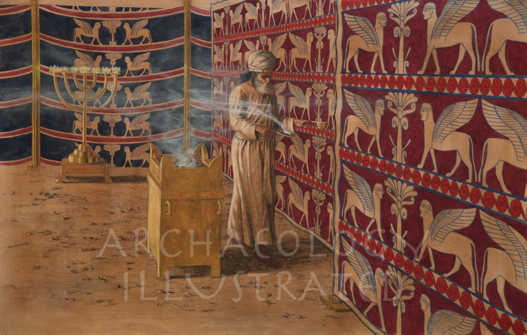 The Tabernacle (Mishkan) Interior, The High Priest Carrying Incense and Blood on Yom Kippur into Holy of Holies - Archaeology Illustrated