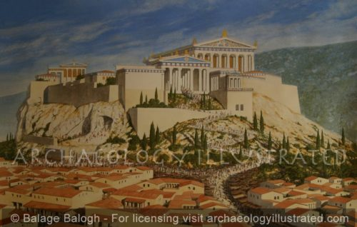 Athens, Acropolis in the 4th century BC. View from the West - Archaeology Illustrated