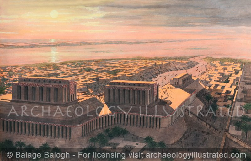 Eridu, Sumer, View towards the Persian Gulf, Around 3200 BC - Archaeology Illustrated