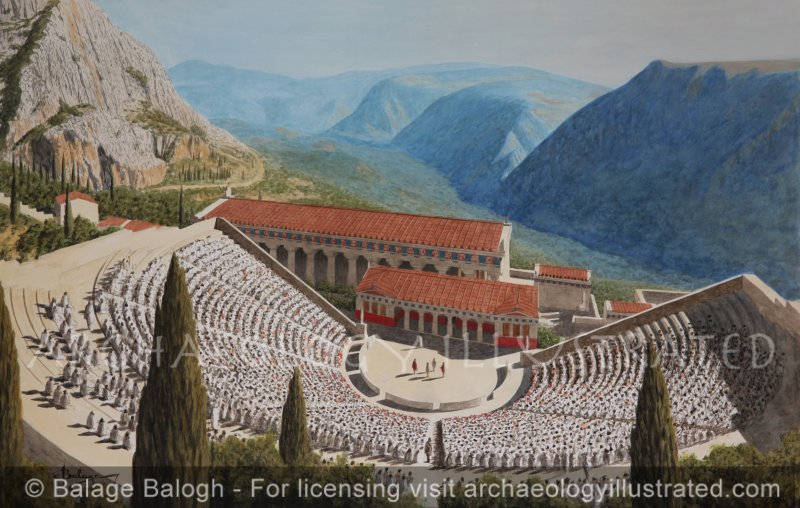 The Theater and the Temple of Apollo in Delphi, Greece ...