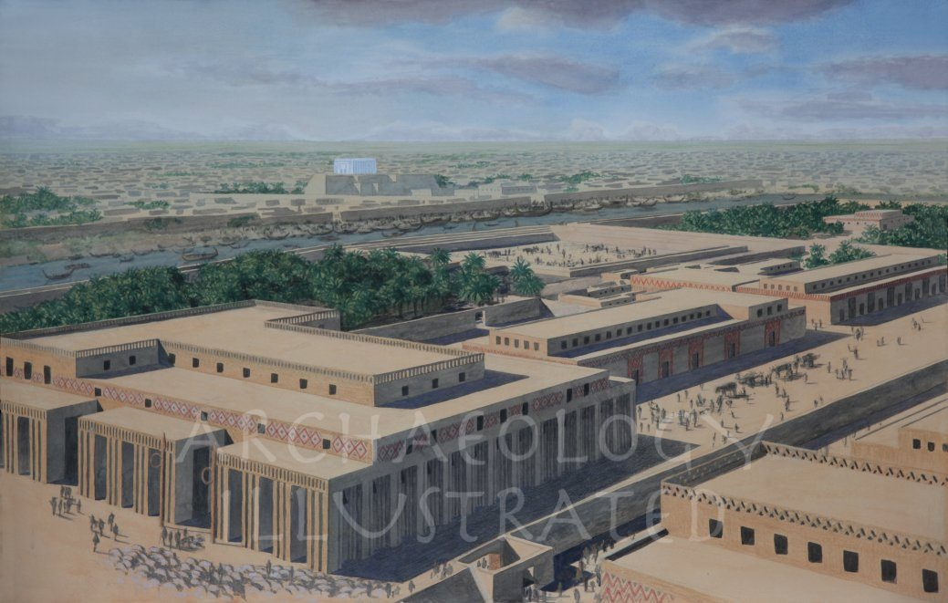 Uruk, The Eanna Temple Complex of the Goddess Inanna, The White Temple in the Background, around 3200 BC - Archaeology Illustrated