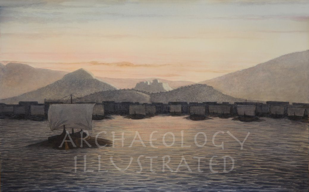 Athens, Piraeus Harbor, 5th century BC. The Athenian Fleet is Sailing Out - Archaeology Illustrated