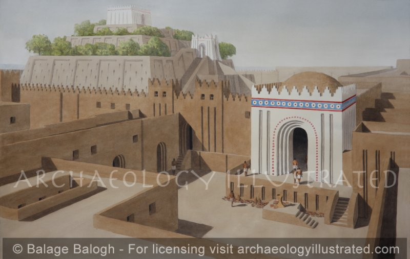 The City of Ur. Entrance Gate to the Ziggurat Area, Kassite Period - Archaeology Illustrated