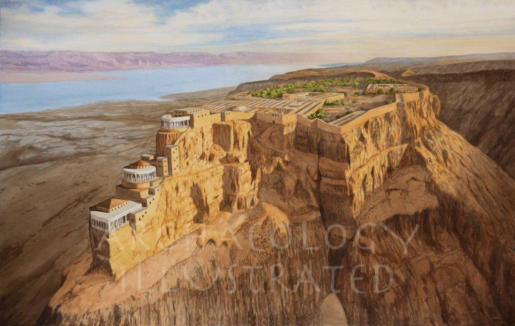 Masada. The Desert Fortress of Herod the Great by the Dead Sea. 1st century BC - Archaeology Illustrated