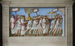 Rome, the Arch of Titus Relief with restored colors. Triumphal Procession with the Looted Treasures from the Jerusalem Temple, 1st century AD - Archaeology Illustrated