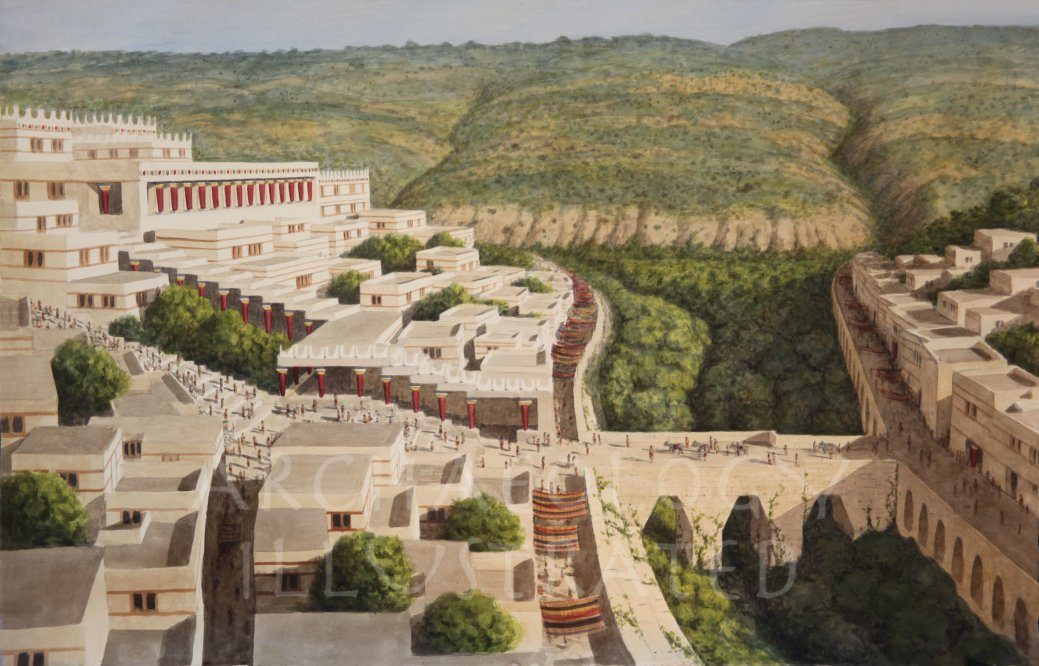 Crete, Knossos Palace Bridge, around 1450 BC - Archaeology Illustrated