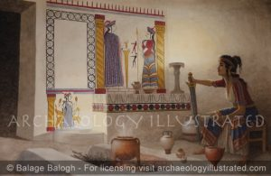 Mycenae, Cult Room with Wall Painting in Lower Citadel, 1250 BC - Archaeology Illustrated