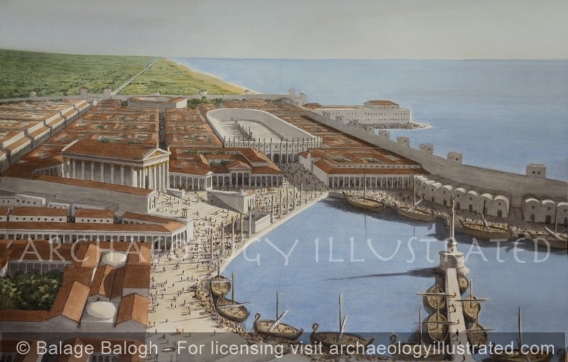 Caesarea and Inner Harbor, Looking South - Archaeology Illustrated