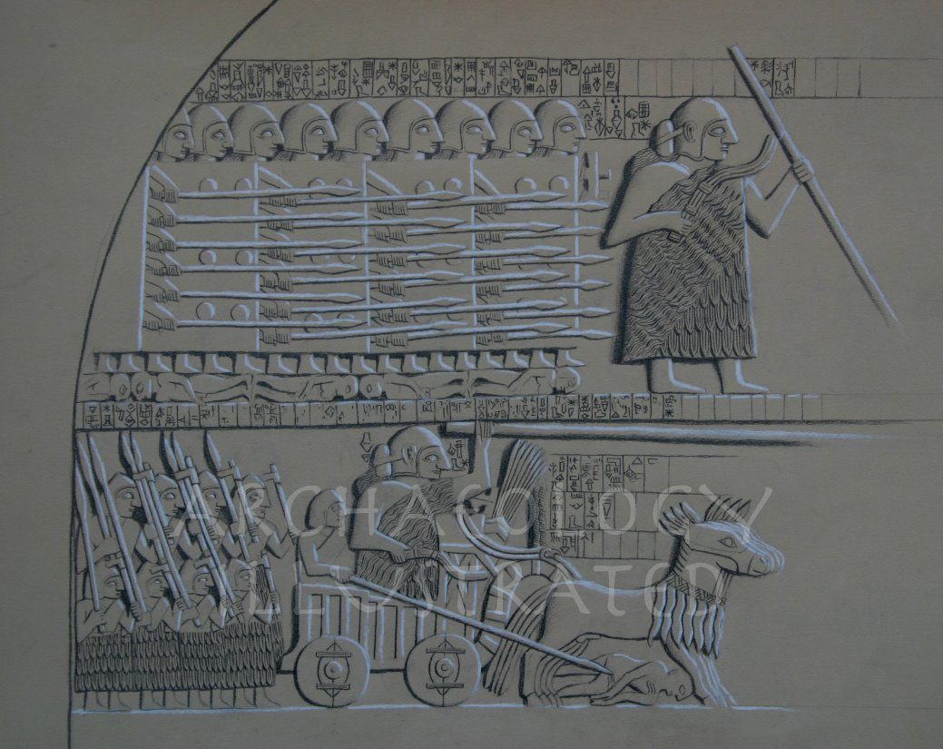Restoration Drawing of the Victory Stele of the Sumerian King Eannatum, Ruler of Lagash, 2600 BC - Archaeology Illustrated