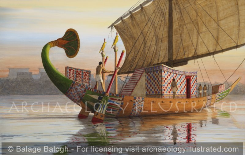 Reconstruction of a Nile Boat as it Would Have Appeared in the New Kingdom Period - Archaeology Illustrated