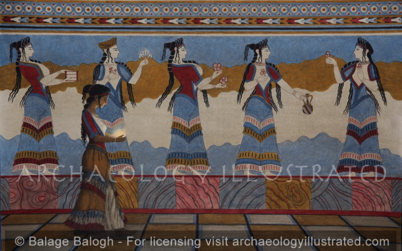 Thebes, Reconstruction of Wallpainting Fragments Found in Mycenean Period Royal Palace, 1300 BC - Archaeology Illustrated
