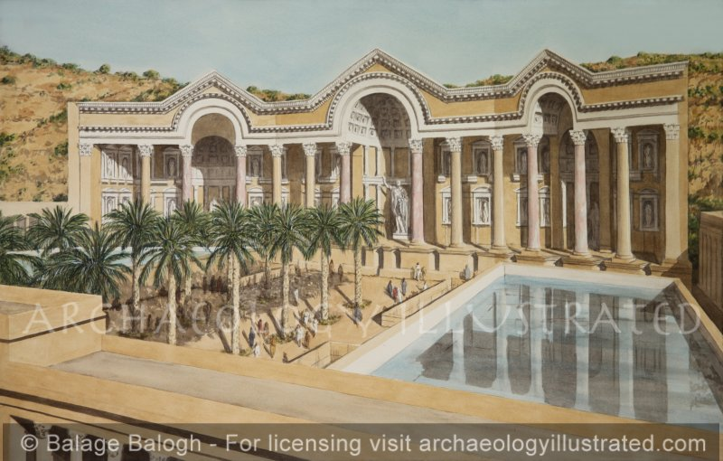 Amman, Jordan, Roman Period. The Imperial Nymphaeum and Water Cisterns. 2-3rd century AD - Archaeology Illustrated