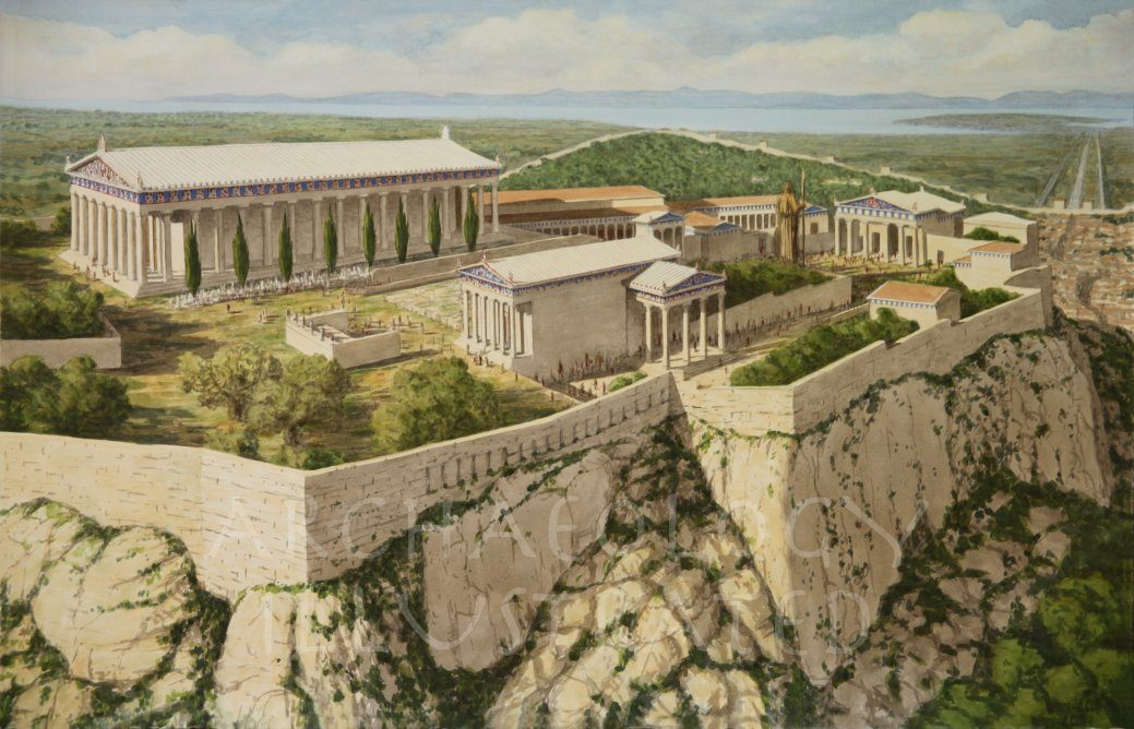Athens, The Acropolis in the Morning, Looking Southwest - Archaeology Illustrated