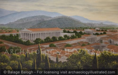 Ephesus, Roman Period Temple of Artemis with the City of Ephesus in the Distance at Sunset, 3rd century BC-3rd century AD - Archaeology Illustrated