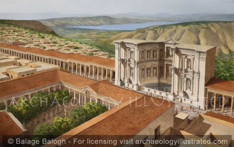 Gadara, Jordan in the Roman Period. The Nymphaeum and the Cardo. 2nd century AD. The Sea of Galilee and the Golan in the Background - Archaeology Illustrated
