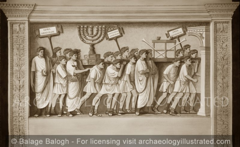 Rome, Stone Relief on the Arch of Titus Depicting the Sacred Objects of the Destroyed Temple of Jerusalem being Paraded in Rome - Archaeology Illustrated