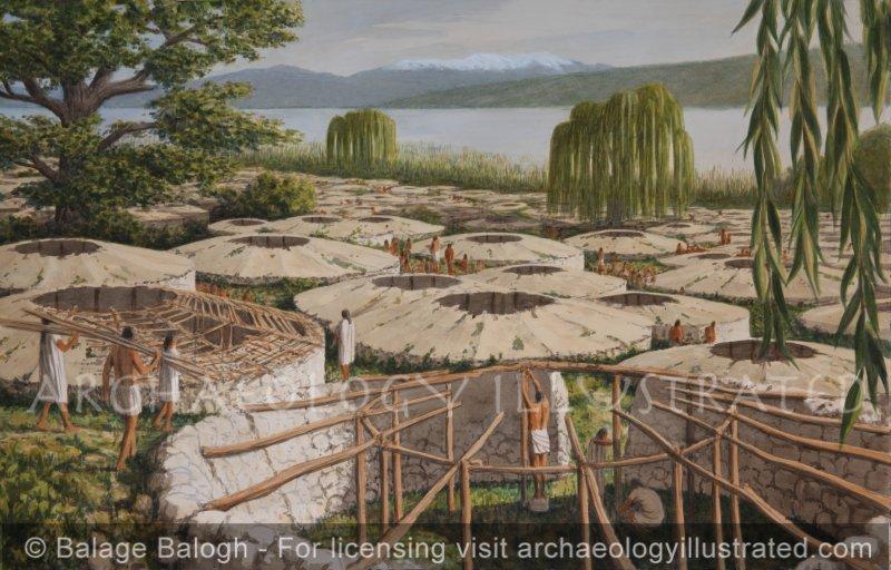 Tell Mallaha (Eynan), Northern Israel, Hula Valley, A Natufian Village of Pre-Agricultural Hunter-Gatherers, around 11,000 BC Looking North - Archaeology Illustrated