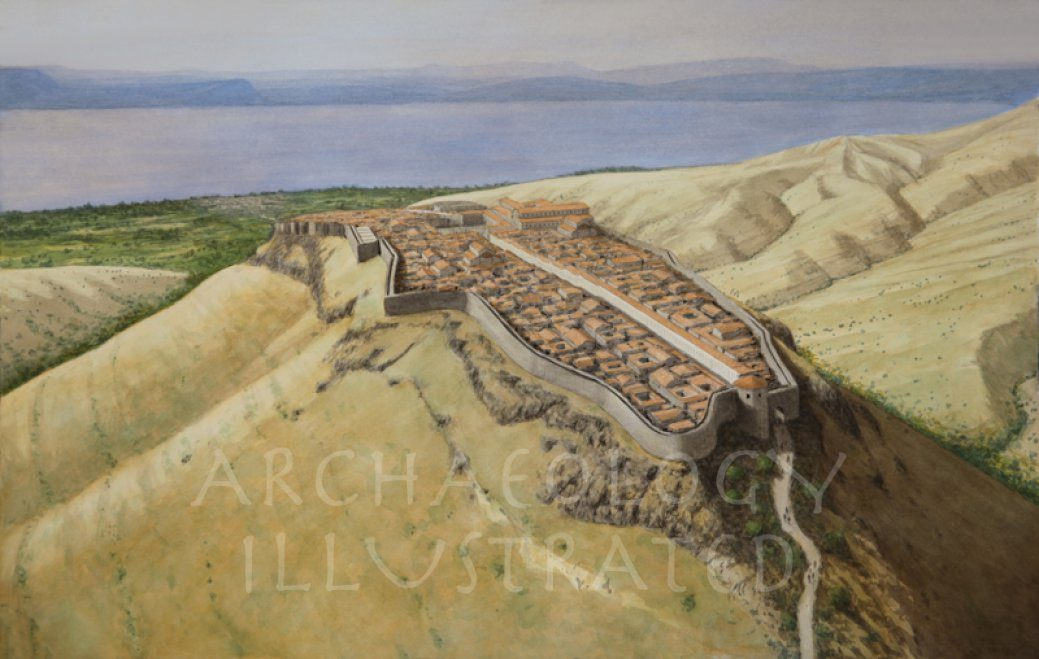Sussita (Hippos) Overlooking the Sea of Galilee with Tiberias, Magdala and Capernaum on Yonder Shore. Byzantine Period - Archaeology Illustrated