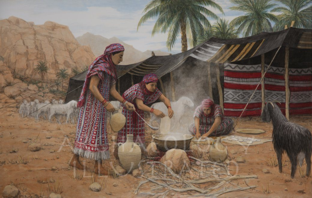 Rachel and Leah Cooking Dinner - Archaeology Illustrated