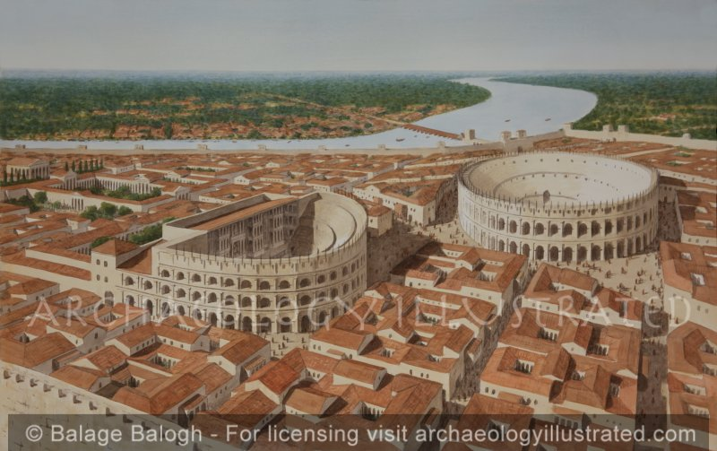 Arles on the River Rhone, Provence in Southern France, in the Roman Period. 2nd Century AD - Archaeology Illustrated