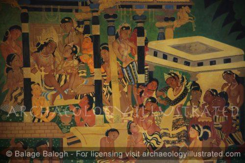 Ajanta Cave 1, The Mahajanaka Jataka Wall Painting Reproduction in its Original Colors - Archaeology Illustrated