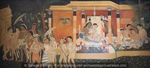Ajanta Cave 17,  Vessantara Jataka Wall Painting Reproduction in its Original Colors - Archaeology Illustrated