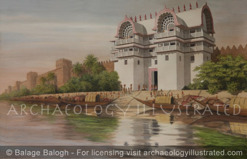 Ancient Indian Wood Architecture, Indraprastha, Today's New Delhi, City Gate on the Yamuna River, Based on Stone Reliefs on Sanchi Stupa, 1st century BC - Archaeology Illustrated