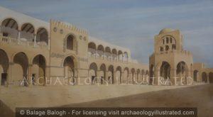 Jericho, Hisham's Palace (Hisham ibn Abd al_Malik) Palace Facade and Courtyard, Umayyad Period, around 730 AD - Archaeology Illustrated