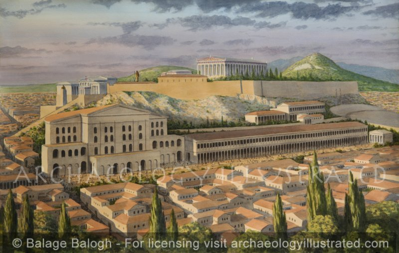 Athens, the South Slope of the Acropolis with the Odeon of Herodes Atticus, 161-260 AD - Archaeology Illustrated
