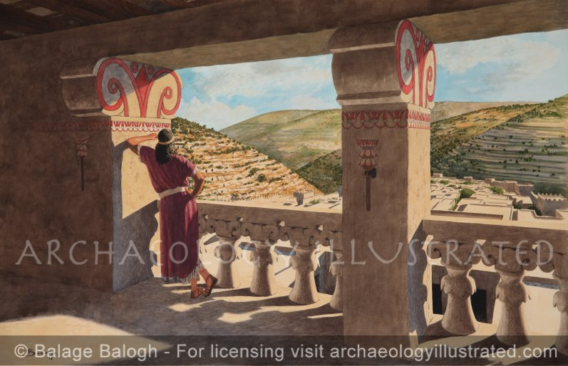 King David on His Palace Balcony Looking South Over the City of David - Archaeology Illustrated